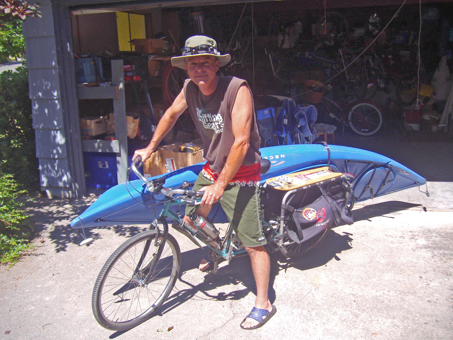 Trucks are Sissy!  Blue Heron Bikes founder Rob Allen preps for a kayak adventure on the American River with his Xtracycle FreeRadical converted cargo bike.
