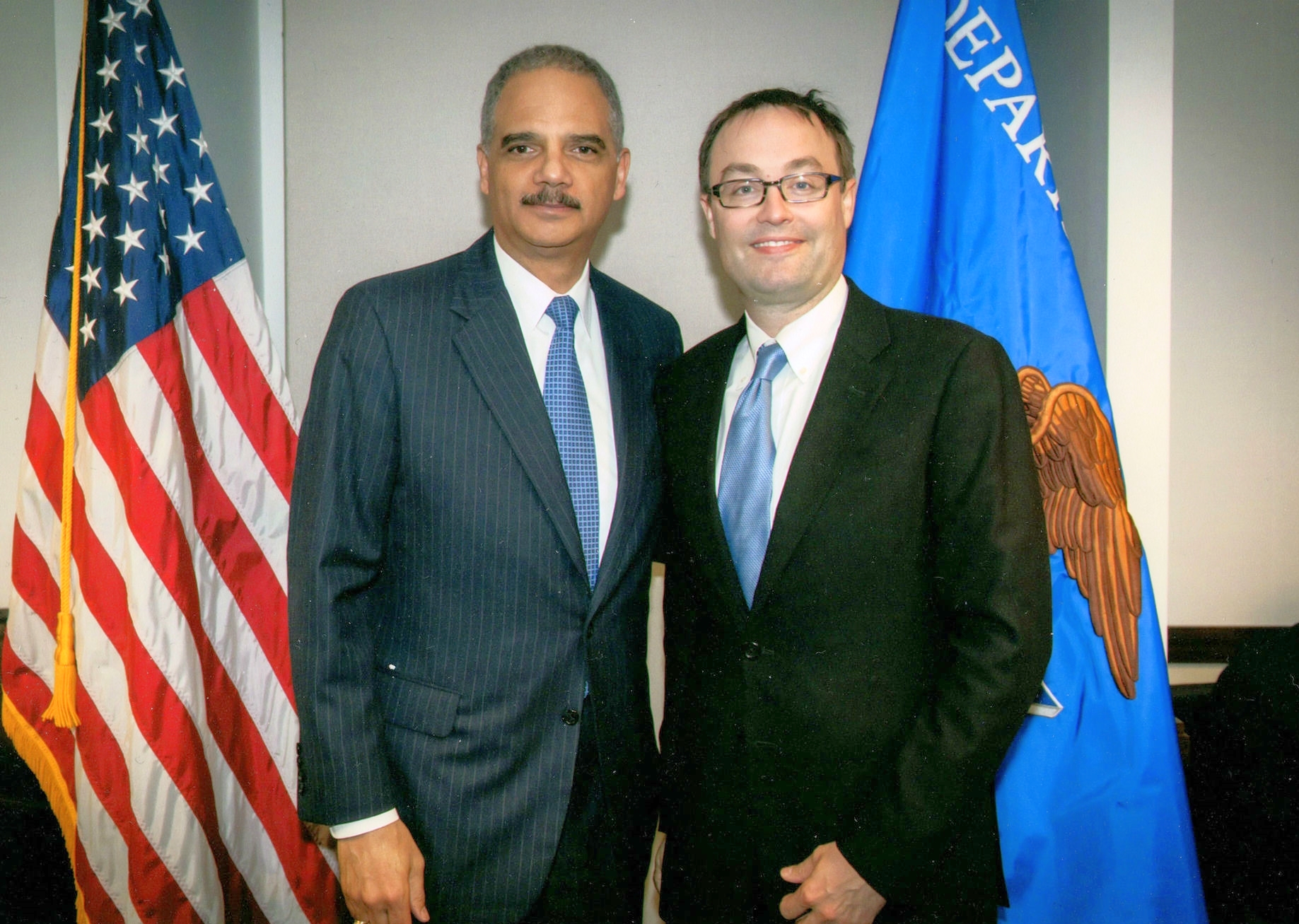 Bryan Sells with Attorney General Eric Holder at the U.S. Department of Justice in 2013.