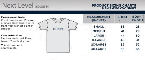 Men's 5Bravo Crewneck T-shirt Size Chart