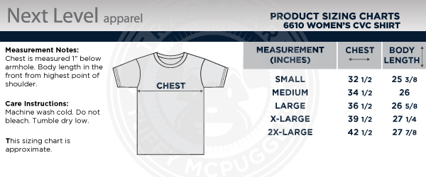 Women's 5Bravo Crewneck T-shirt Size Chart (Same fit applies for v-neck, scoop neck, and tanks)
