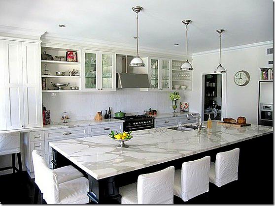 honed white marble kitchen