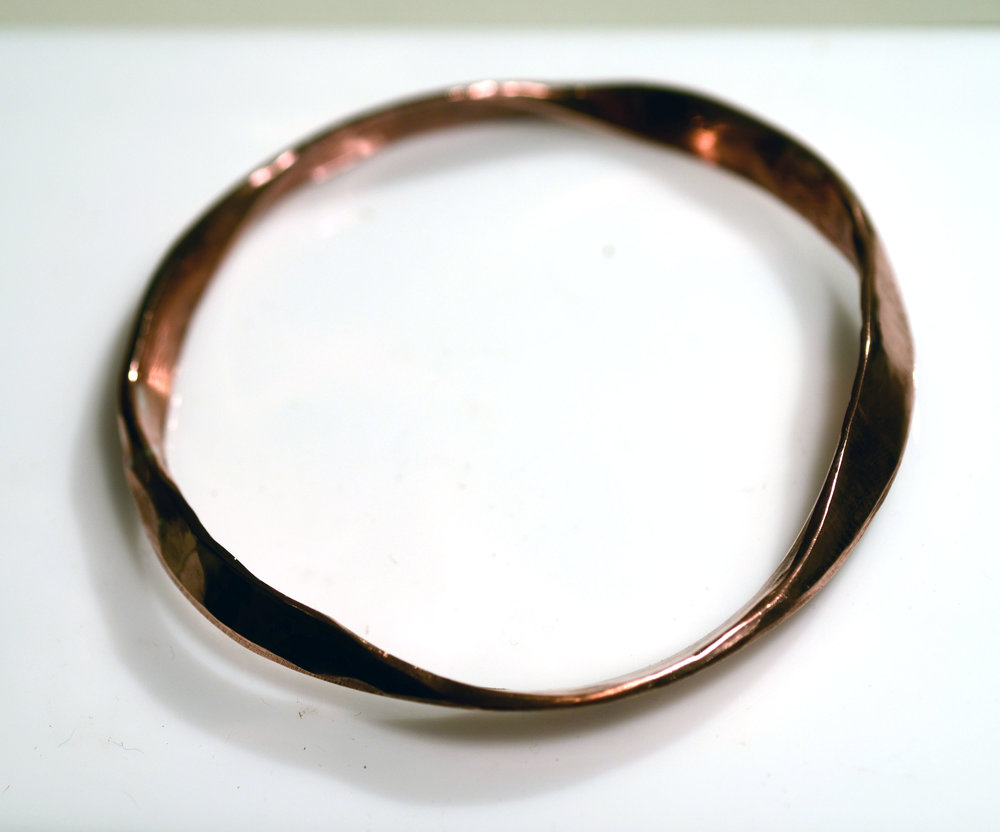Hand forged hollow COPPER full round Bangle