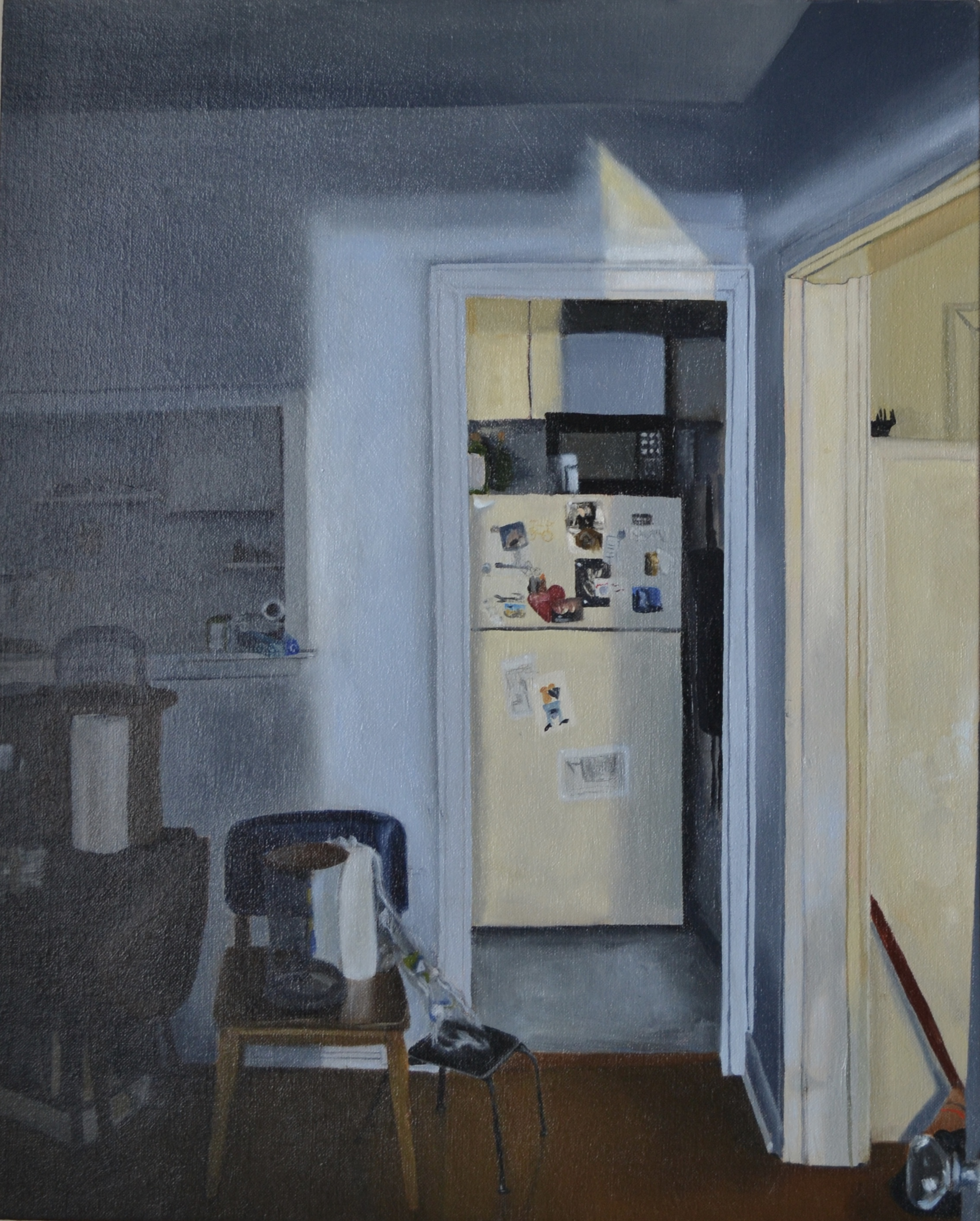 "Fridge, oil on linen, 20"" x 16"""