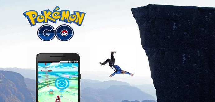 Two men fall off a cliff while playing Pokemon Go