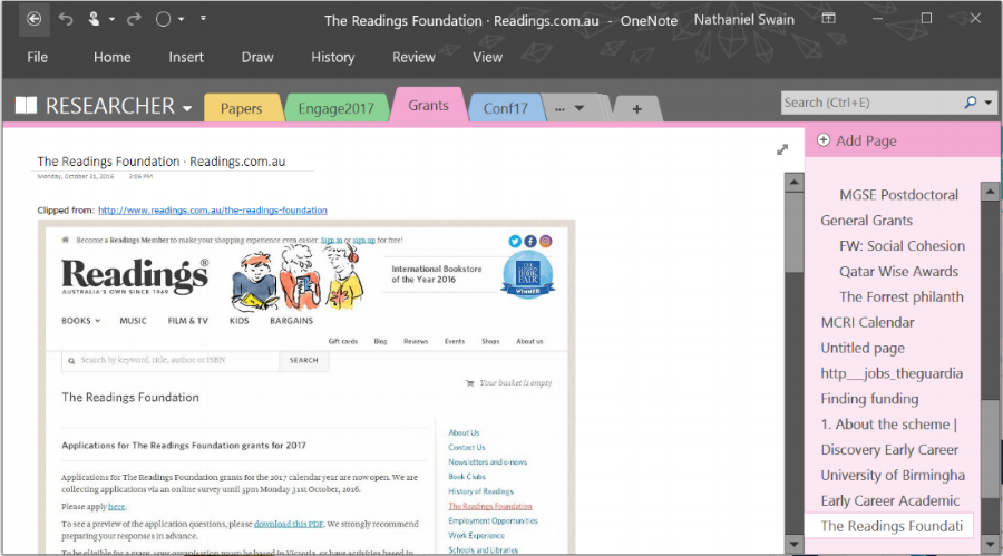 A sample of one of my  Onenote  pages. This under-utilised software comes as standard in most subscriptions to MS Office.