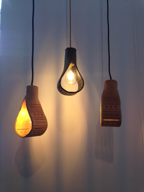 Kasia Mackowiak has produced these gorgeous leather hide pendant lights. The tooled detailing she has applied is so lovely, using traditional crafts in a modern way really works, they are truly lovely!  www.kasiamackowiak.co.uk