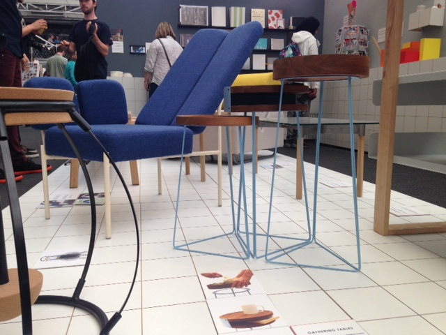 More from Kingston, I love this trio of tables, the blue powder coated base gives a great geometric shape as it hits the floor.
