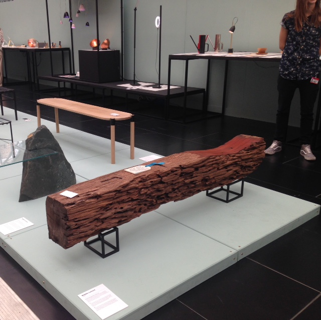Tremendous bench by Maddie Lamont from Northumbria University, the way she has worked the seat to its polished beauty, its dip in and out to the rawness of the wood is so wonderful. The super clean black metal base juxtaposes beautifully. A forever and ever piece!