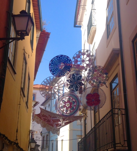 Crochet installations in Coimbra, a one hour train trip south of Porto.