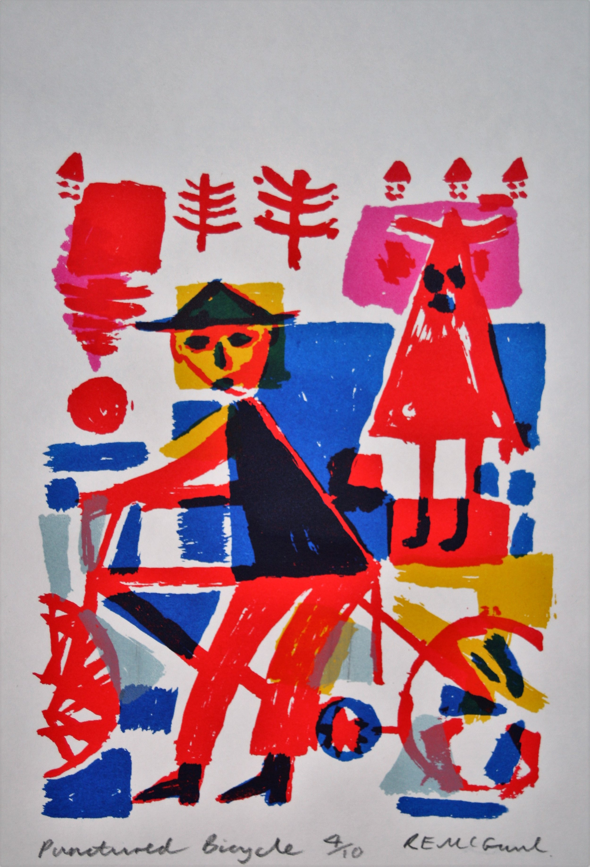 Punctured Bicycle screenprint by Ralph McGaul.