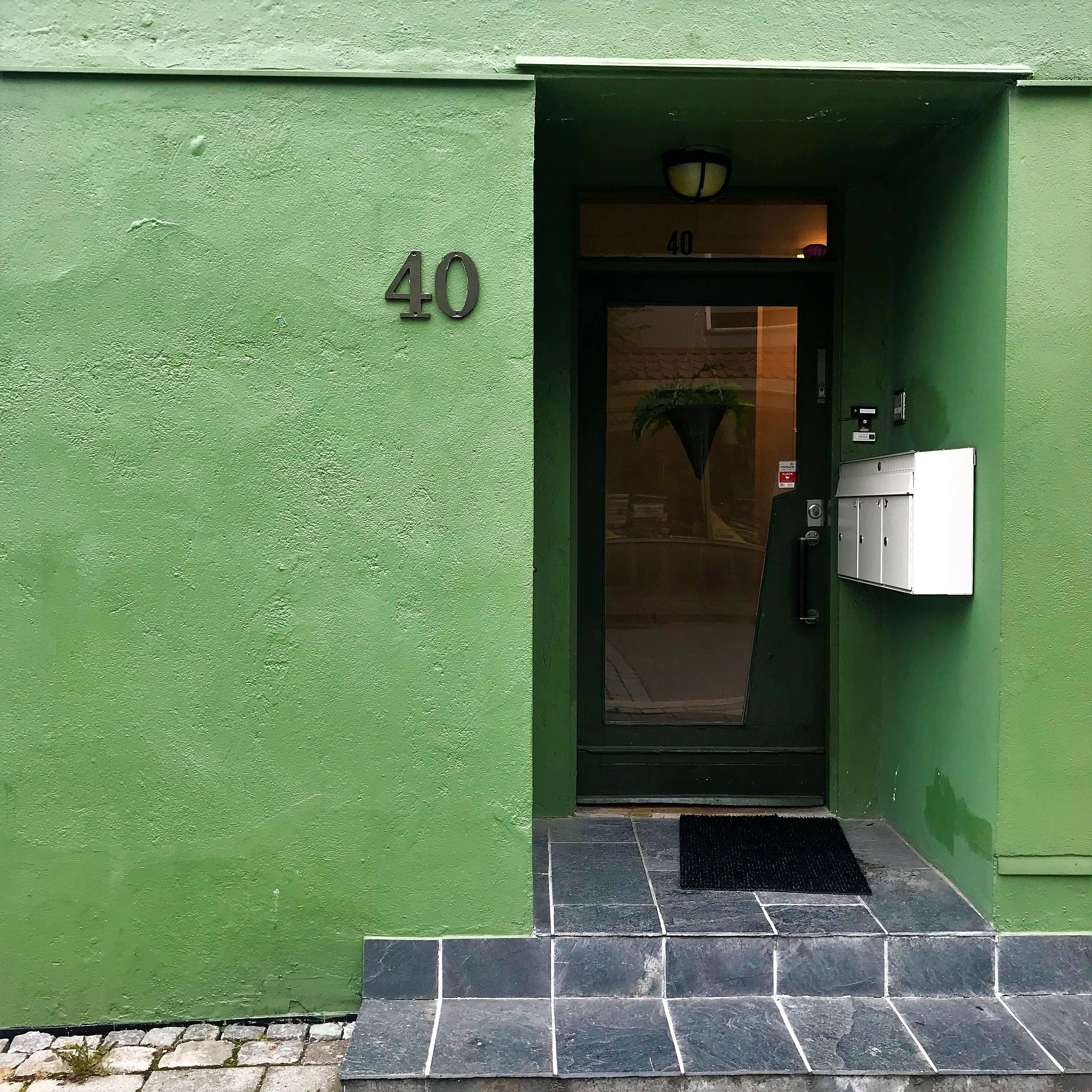 Gorgeous green painted apartment entrance.