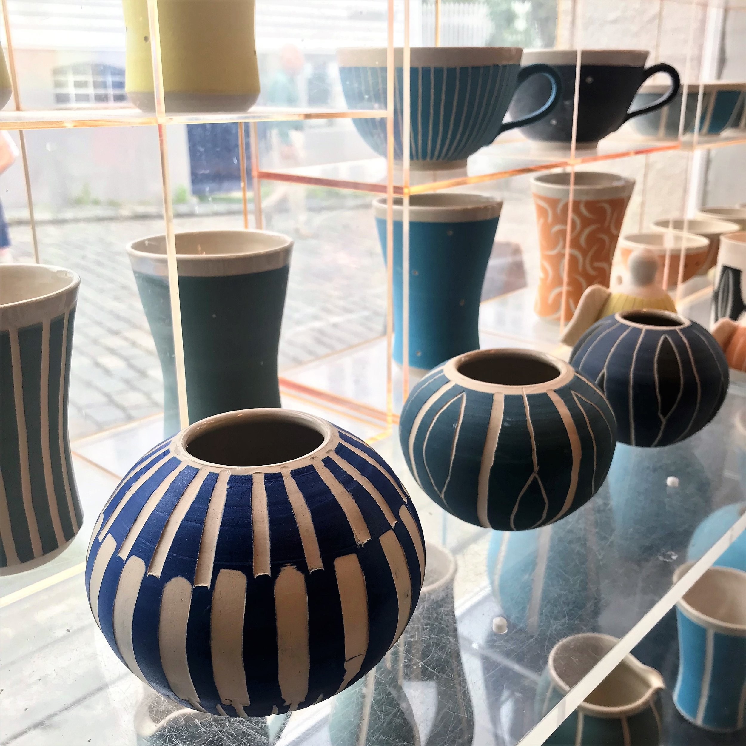 Beautiful ceramic collection in a makers studio in Stavanger.