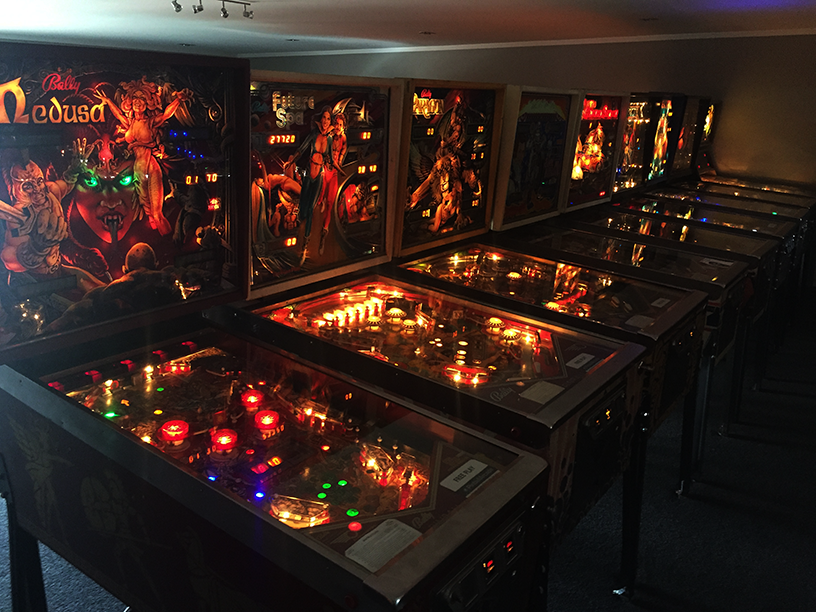 Just a very small sample of a room that housed 100 pinball machines, all waiting for someone to walk up and press the start button.