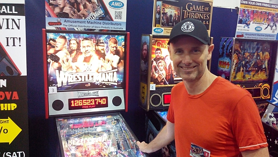 Greg Siegele at the Supanova championship. Photo by the  Australian Pinball League .