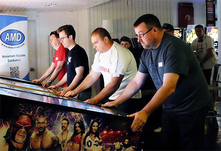 Brett in the foreground, here competing at one of many events held at Pinball HQ in Coogee.