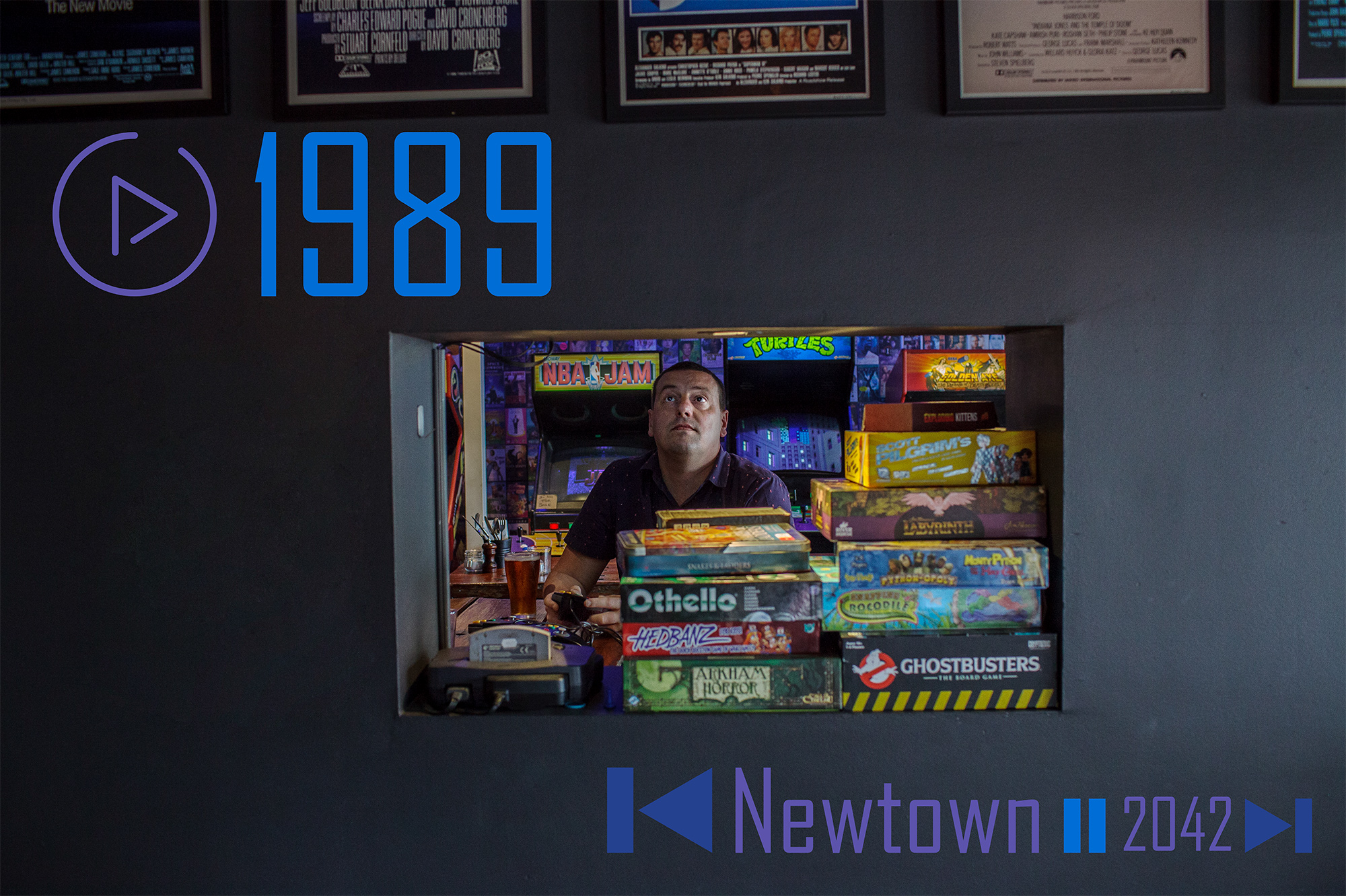 The menu includes Nintendo 64, as enjoyed here by this patron of 1989.