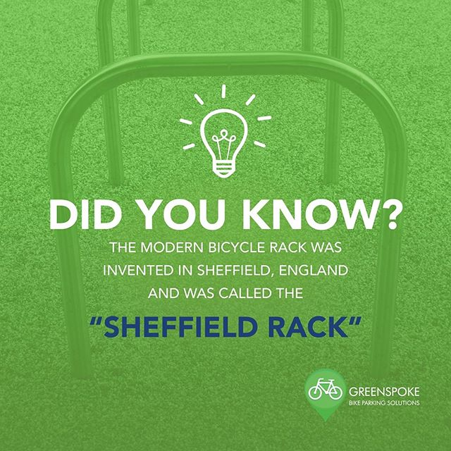 In honour of #InventorsMonth, we are taking a look at the history of the modern bike rack.  The Sheffield Rack simply consists of a thick metal bar bent into a square arch - its unconfirmed origin comes from a time when the citizens of Sheffield had a surplus of used gas piping, and local cyclists suggested it could be used to create bicycle racks. ------------------------------- #gogreenspoke #sheffieldrack #cycling #bicyclerack #streetfurniture