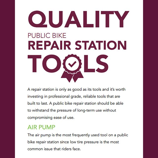 "🛠🔩 Bicycle Repair Station Guide series, Part 2/3 🔩🛠 ""What does a quality bicycle repair station consist of?"" (See the guide in more detail by following the link in our bio) ———————— #GoGreenspoke #bicyclerepair #repairstations #cyclelife #bikerepair #bikerepairstation #cyclecanada #bikeallday"