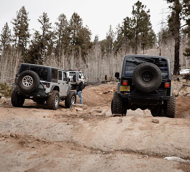 Two Jeeps, a mismatched spare tire and Toyota. What more could you ask for? Maybe a spare that matches and isn't 12 years old?