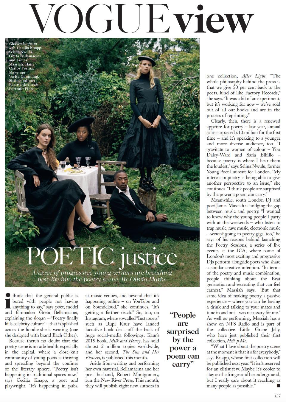 British poets Greta Bellamacina, Cecelia Knapp, James Massiah and Selina Nwulu in British Vogue 2017, portrait by Pizco.