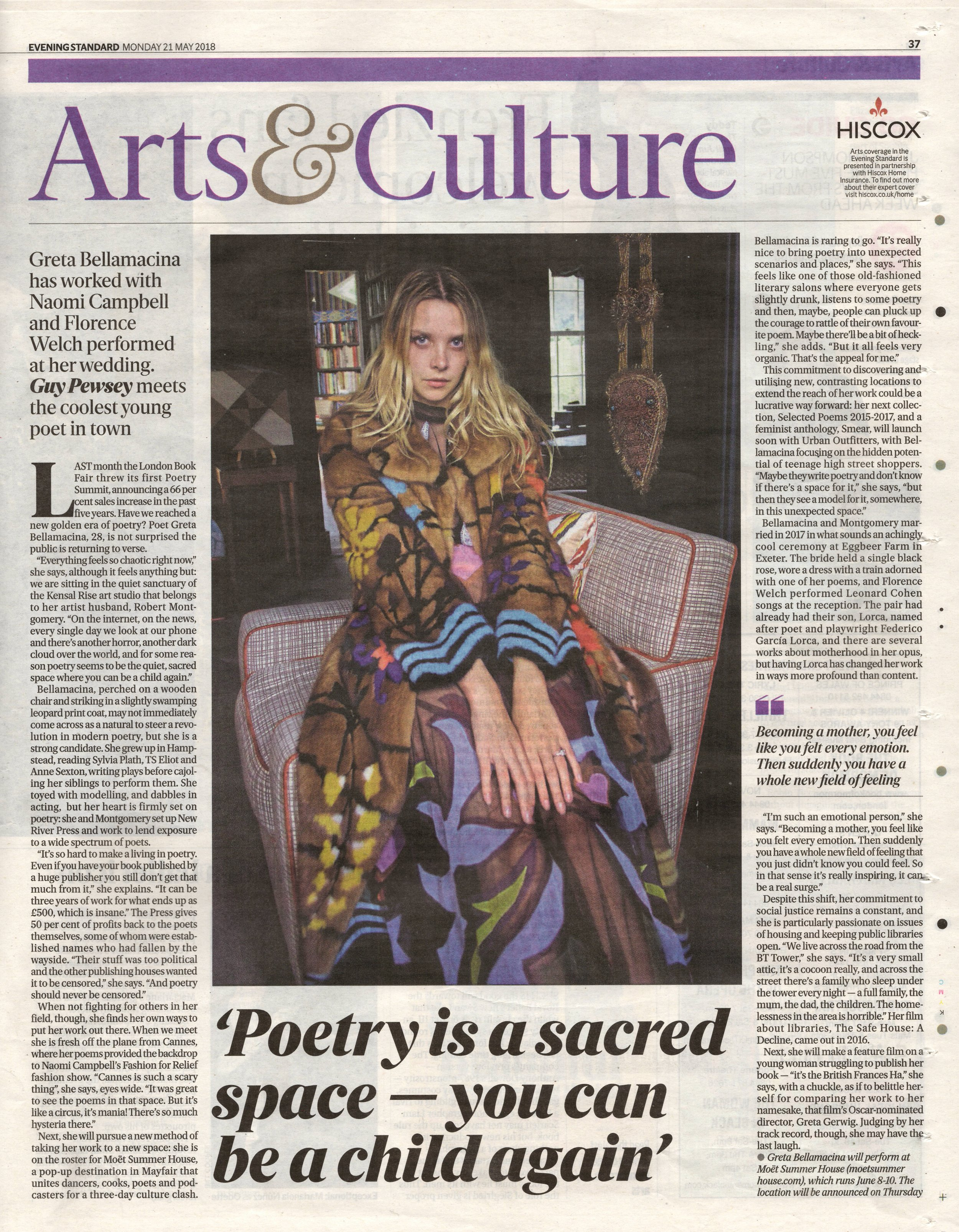 Greta Bellamacina discusses New River Press in the Evening Standards newspaper.