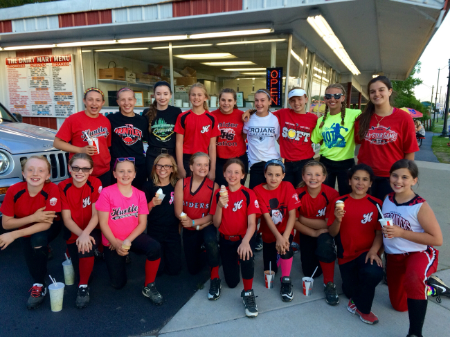 Here the 13U mentors got ice cream after practice with the 10U team.
