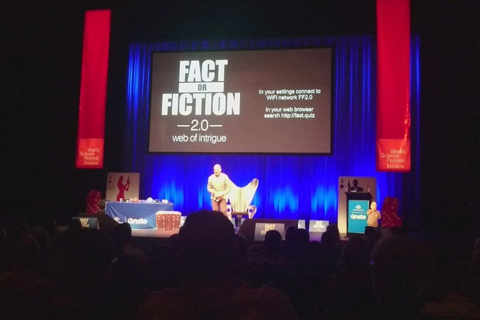 PHOTO:Audience members at Fact or Fiction 2.0 were invited to interact with the panel via their smart phones.(Elisabeth Moss)