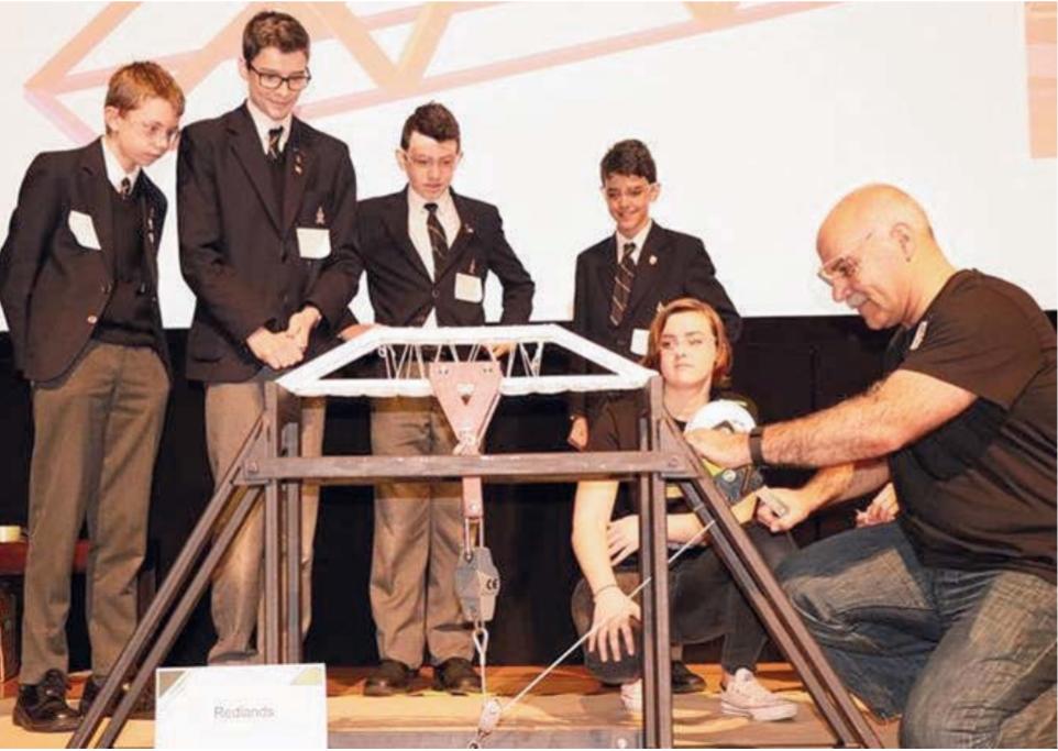 The Redlands students with their award-winning bridge design.