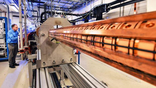 The synchrotron's linear accelerator.Photo: Joe Amao