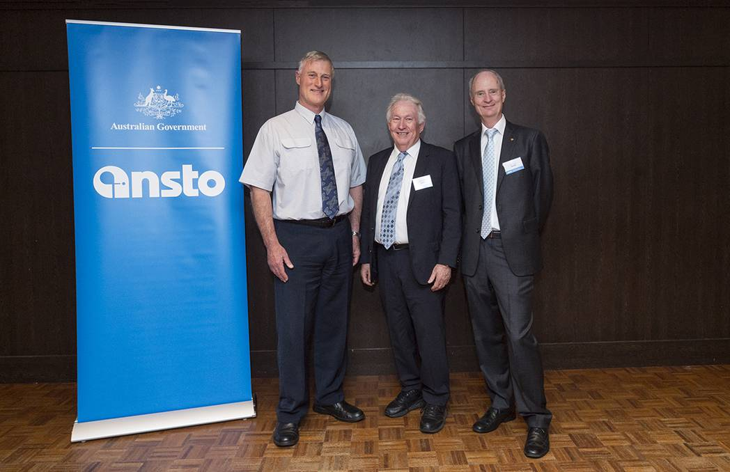Great minds: 2017 Sustained Contribution to ANSTO Award winner Michael Druce (centre) with former winners of the prestigious award David Cohen (left) and Richard Garrett. Picture: Supplied
