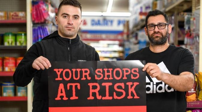 Ben Adili from Dandenong IGA and Mina Dawood from Amalia Europe Cheese Cafe Deli are fighting the possible arrival of supermarket giant Kaufland to the area. Picture: Penny Stephens