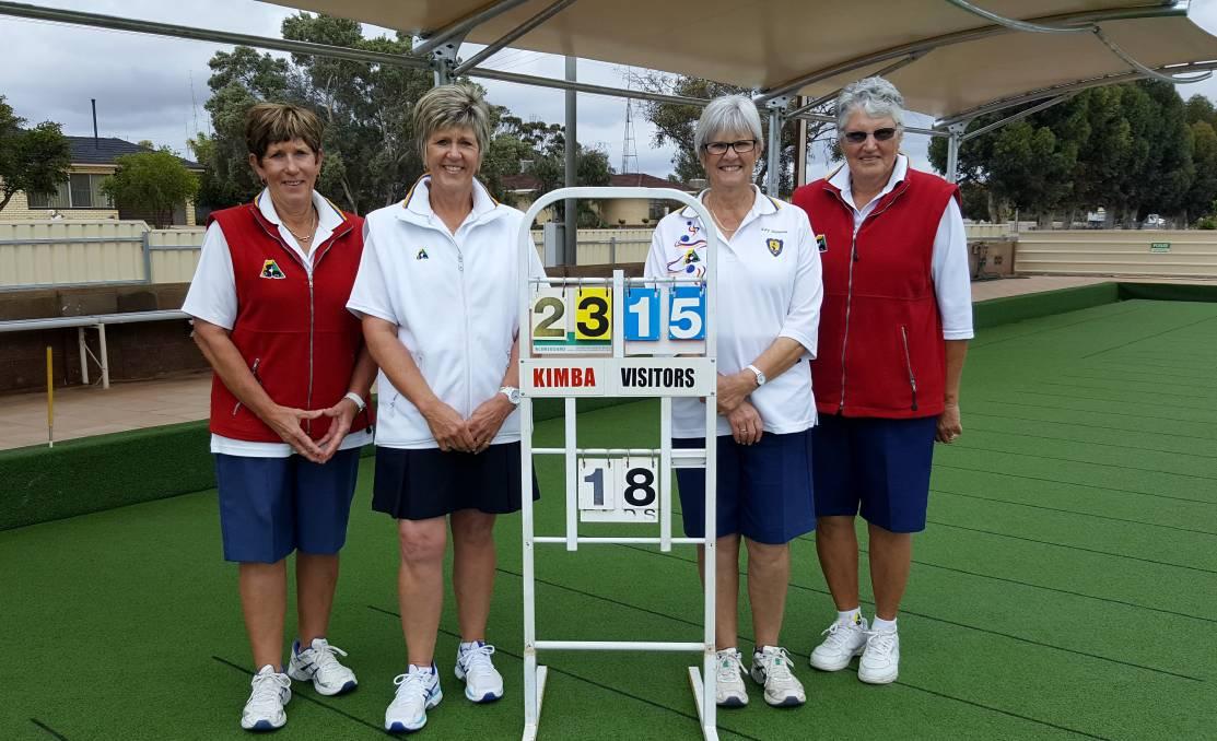 FINALISTS: Women's pairs finalists Helen Harris, Deb Larwood, Kay Hannan and Marj Yates.
