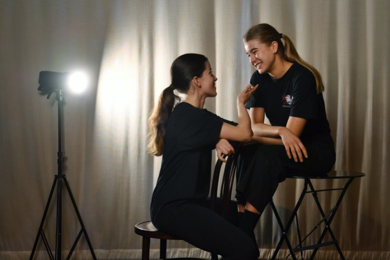Asha Boswarva (behind) and Rebecca Burchett (front) have known each other since kindy and are both looking to acting for their future.Credit:Nick Moir
