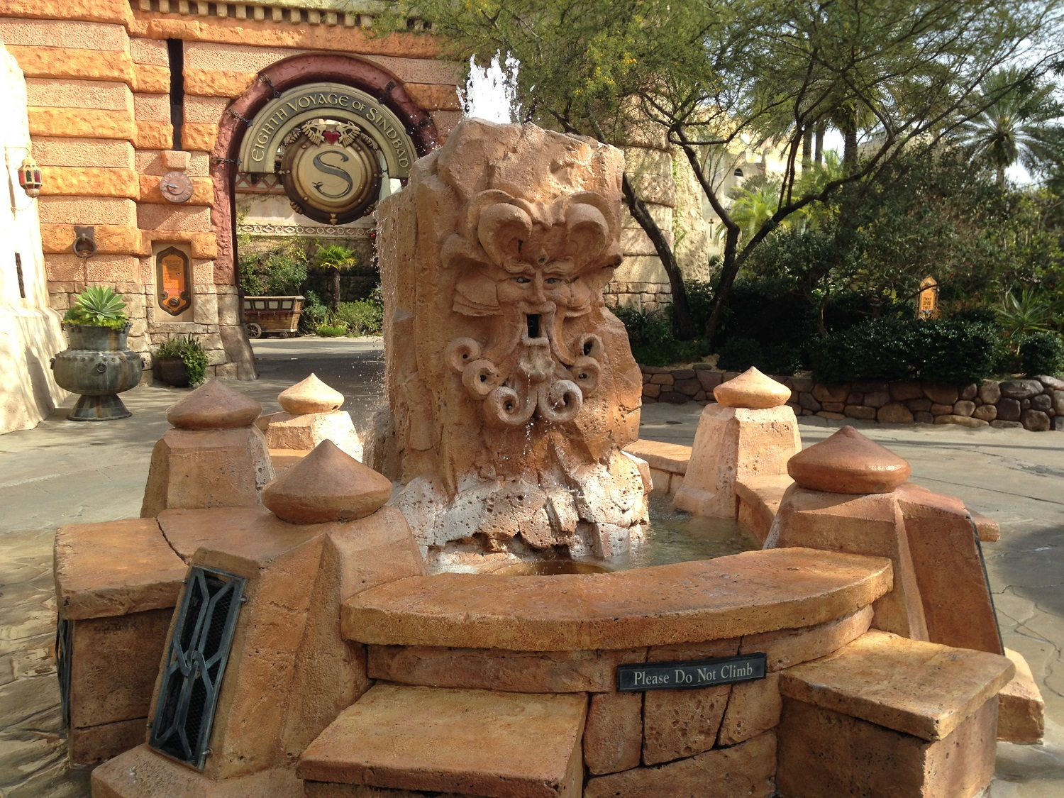 The Mystic Fountain is located near the entrance of The Eighth Voyage of Sinbad in The Lost Continent.