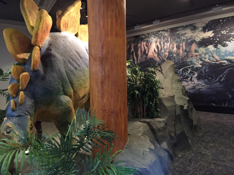 Dinosaur inside the Jurassic Park Discovery Center.