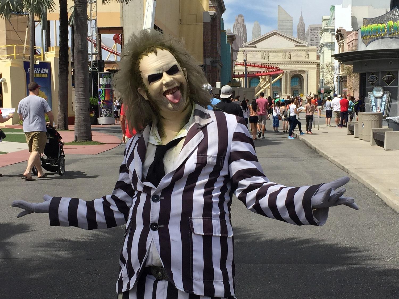 Beetlejuice walking the streets of Universal Studios Florida.