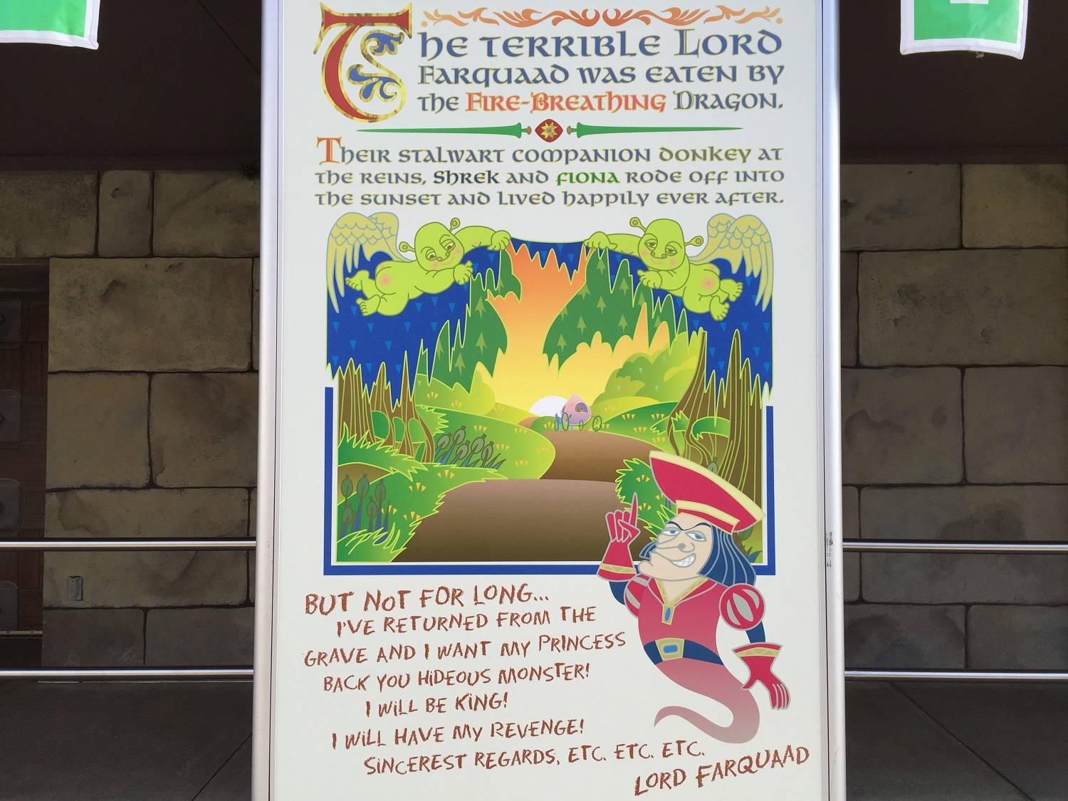 A synopsis of the Shrek 4-D storyline can be found in the outdoor queue.