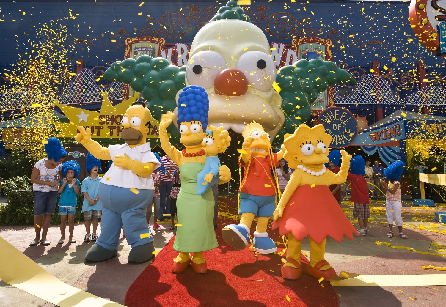 The official opening ceremony for The Simpsons Ride in Universal Studios Florida. Image credit: Universal Orlando Resort.