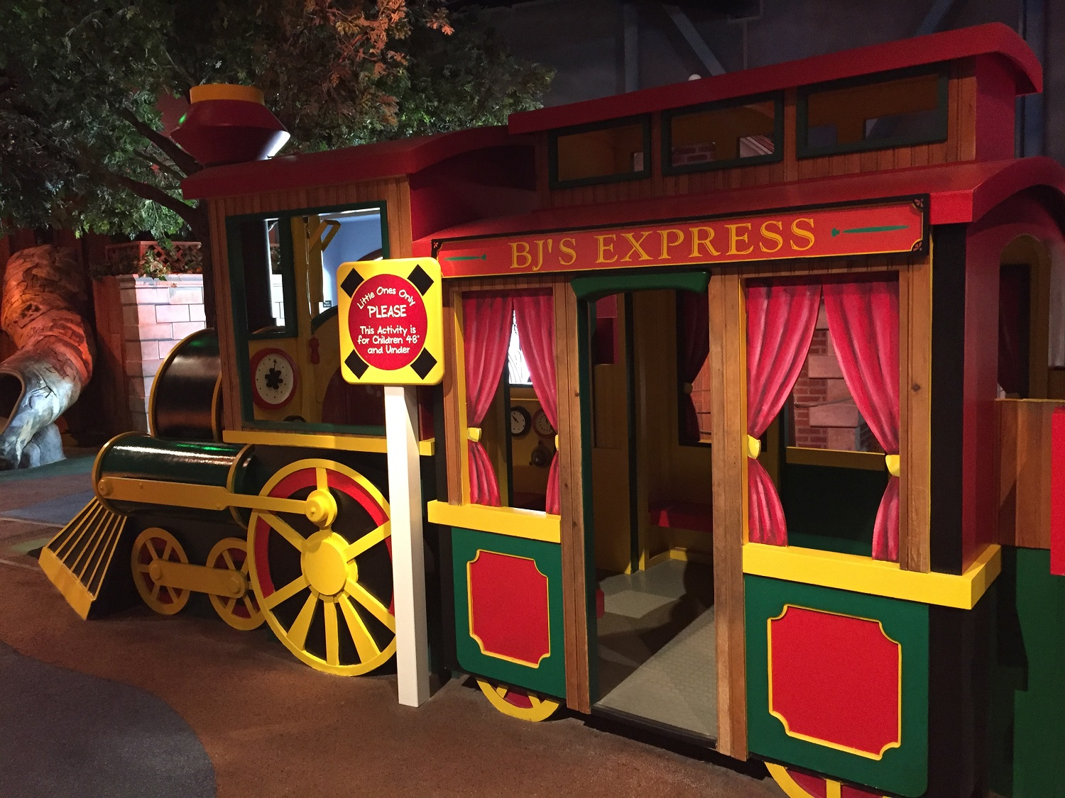 BJ's Express is located in Barney's Backyard, an indoor play area for small children.