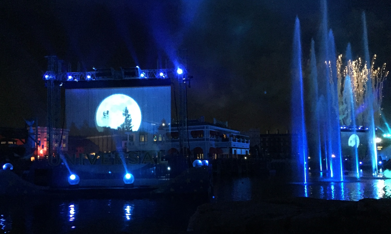 Movie clips, like this one from E.T the Extra-Terrestrial, were displayed on multiple screens in the lagoon.