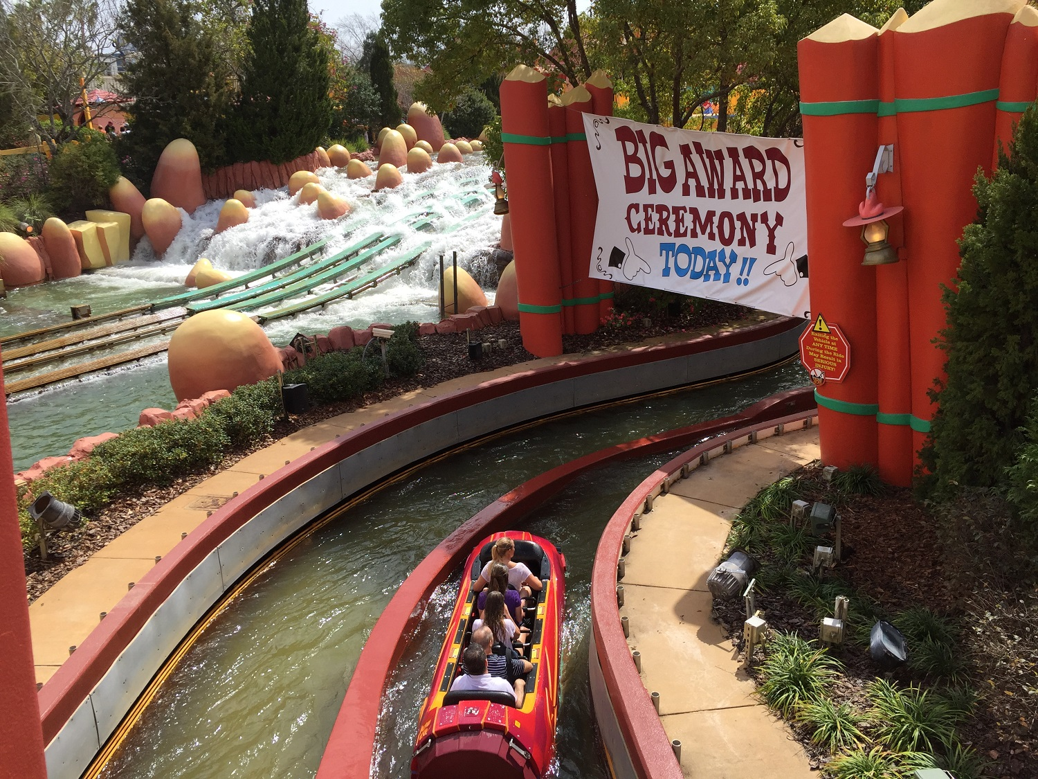 Each Dudley Do-Right ride vehicle seats five people.