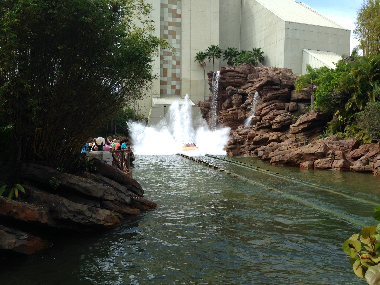 The Jurassic Park River Adventure riders fall from 85 feet into a pool of water at the bottom.