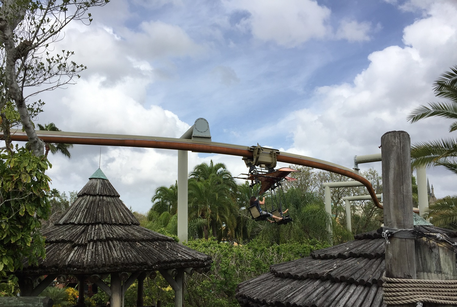 The Pteranodon Flyers ride vehicles are shaped like prehistoric reptiles with wings.