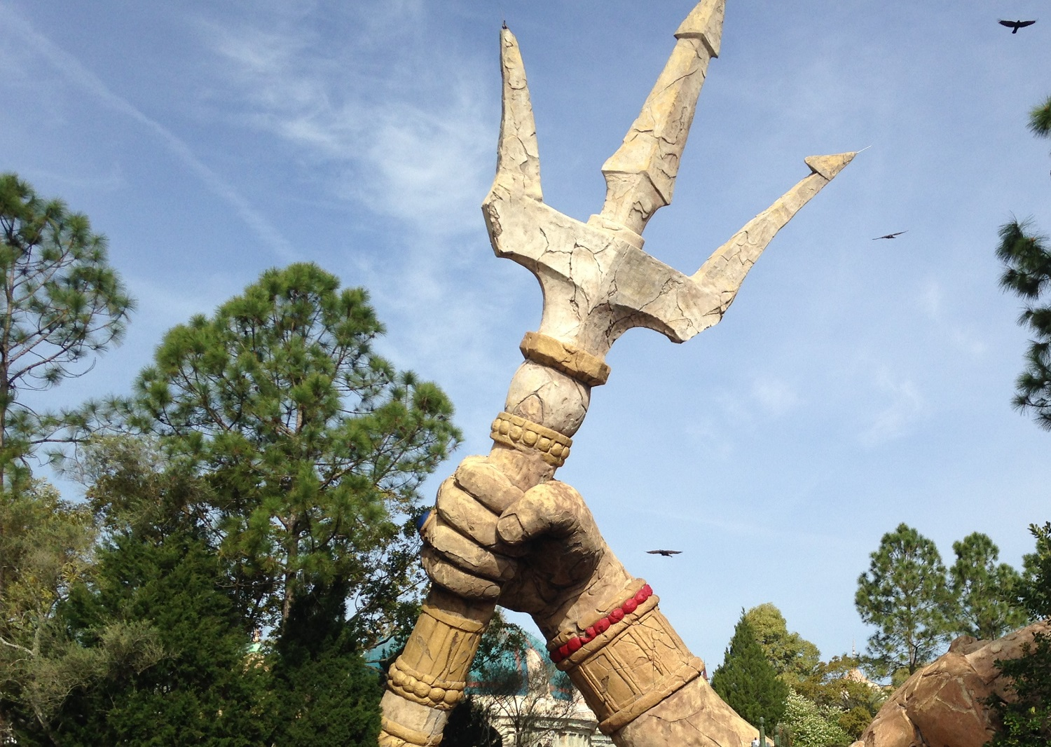 Poseidon's trident can be seen outside of the Poseidon's Fury attraction.