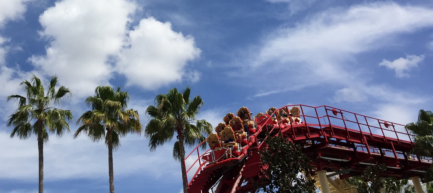 Hollywood Rip Ride Rockit has stadium seating so that every rider has a good view, but we still prefer the front row.