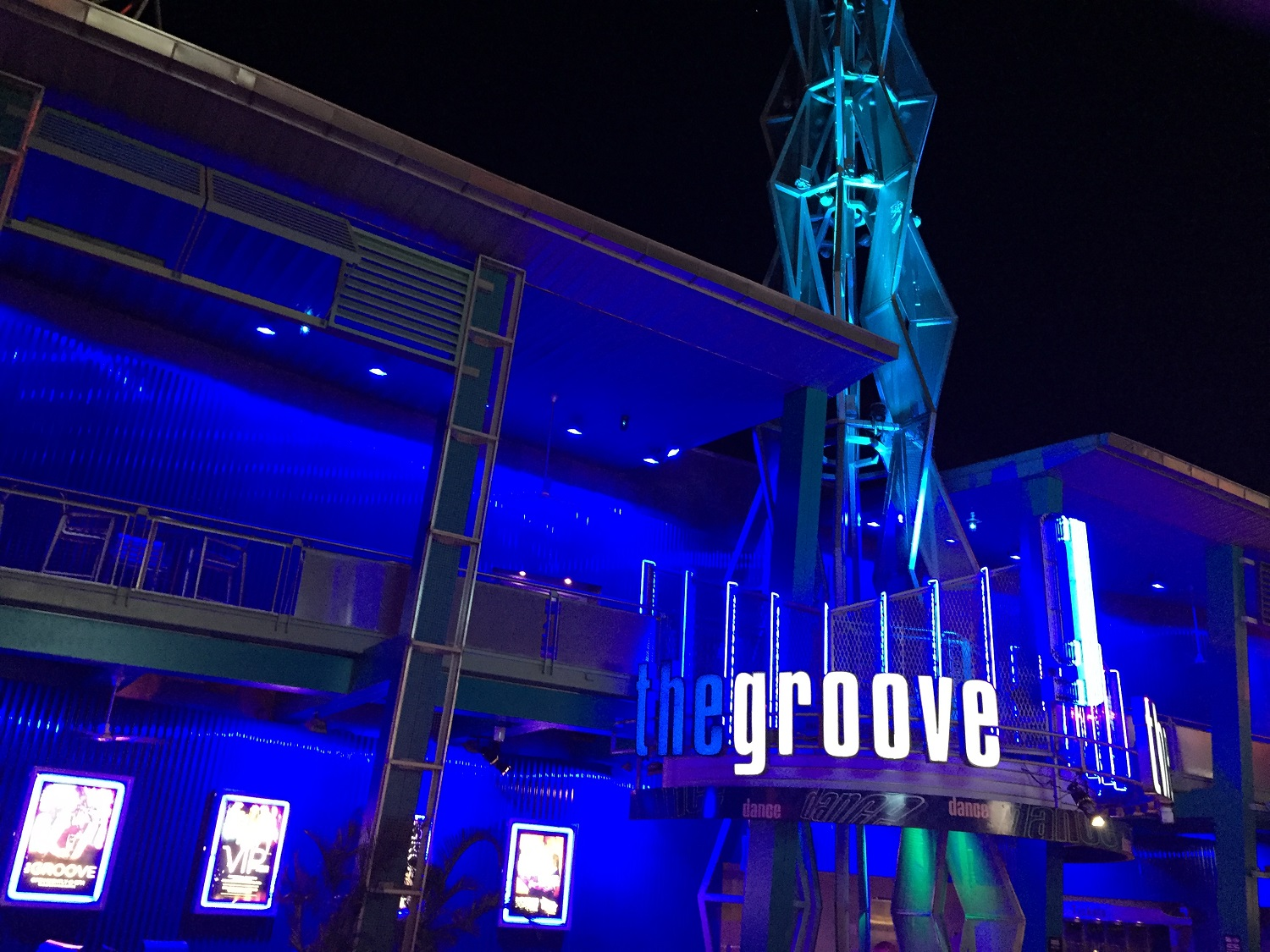 The Groove is lit up at night.