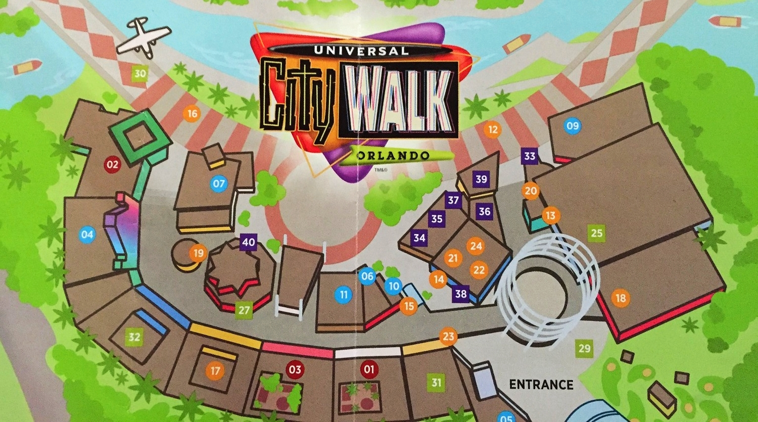 Cinnabon is number 14 on this Universal CityWalk map.