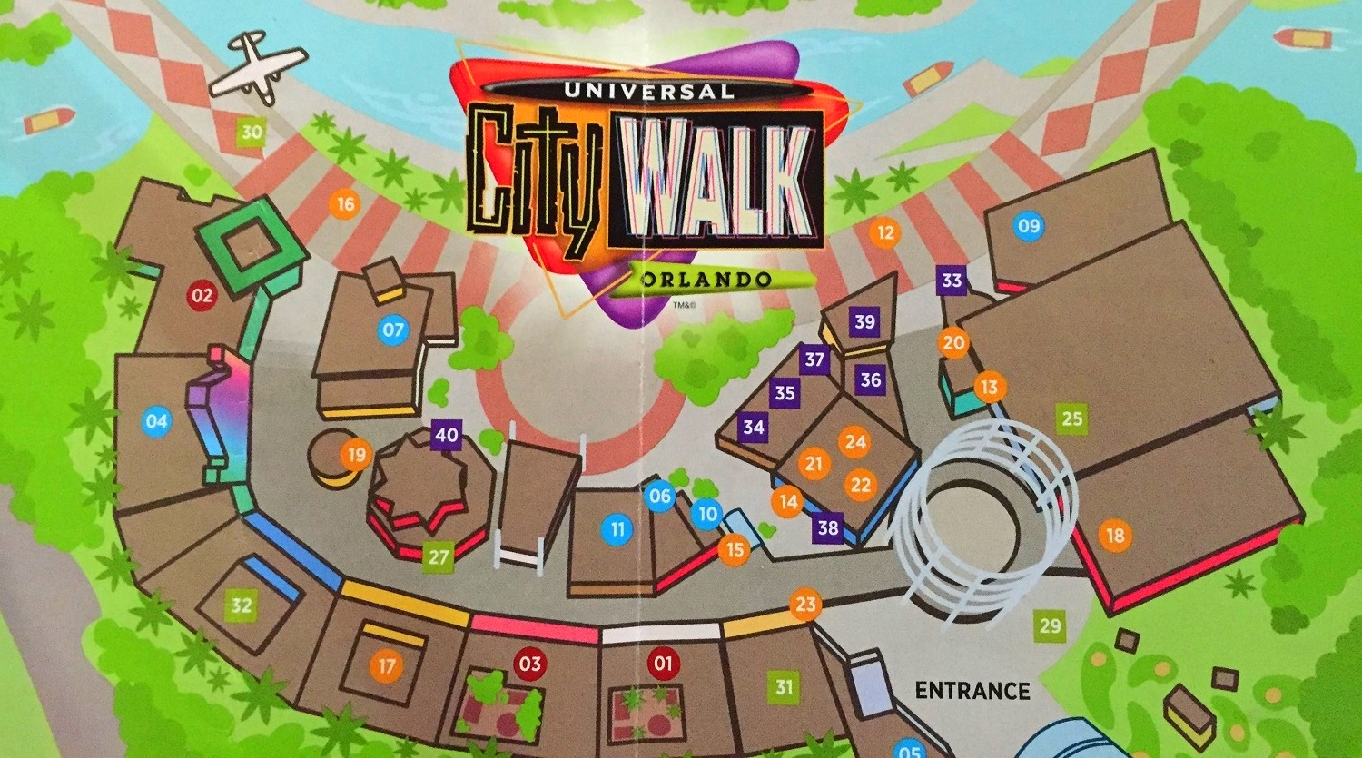 Locate number 07 on this Universal CityWalk map to find Emeril's Restaurant Orlando.
