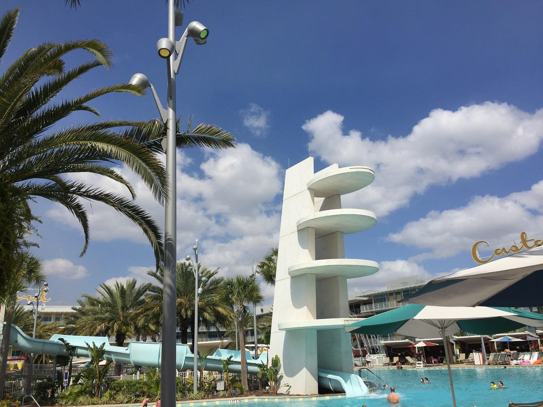 Diving platform in the Cabana Bay Courtyard pool.