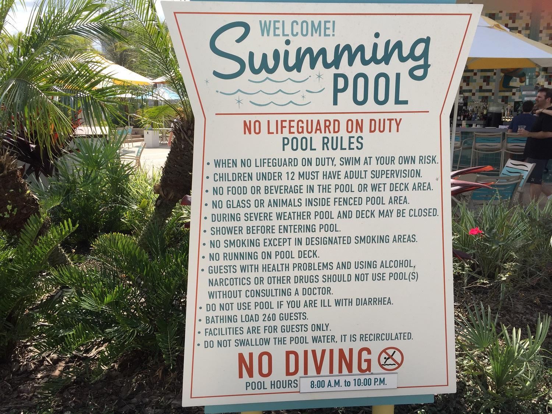 Cabana Bay Swimming Pool Rules